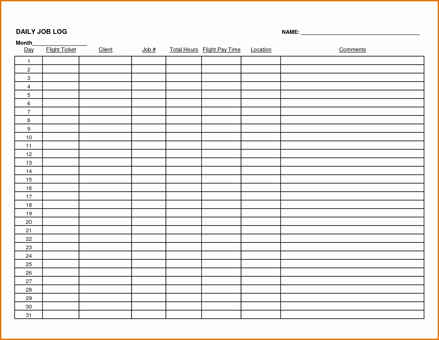 Daily Work Log Template Unique 8 Daily Work Log Templatereference Letters Words