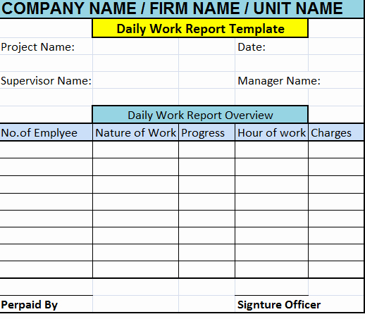Daily Work Report Template Beautiful Daily Work Report Template – Free Report Templates