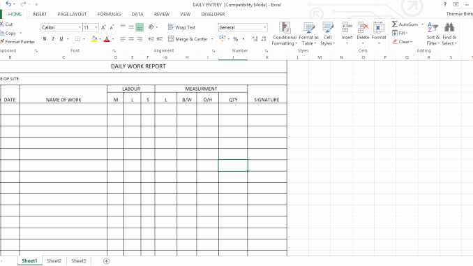 Daily Work Report Template New Daily Work Report Excel Sheet Engineering Feed