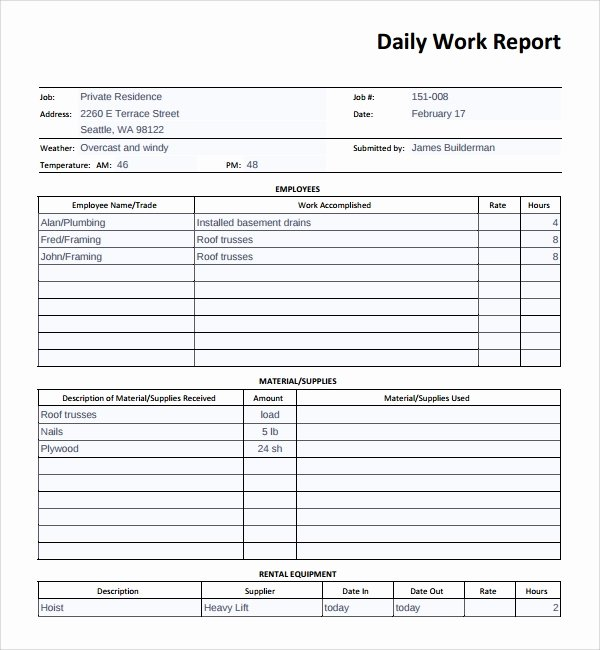 Daily Work Report Template New Sample Daily Work Report Template 16 Free Documents In Pdf