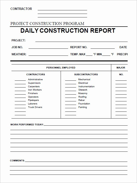 Daily Work Report Template Unique 21 Daily Construction Report Templates Pdf Google Docs