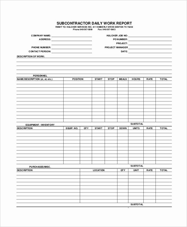 Daily Work Report Template Unique 21 Daily Work Report Templates