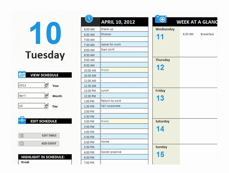 Daily Work Schedule Template Beautiful Daily Work Schedule