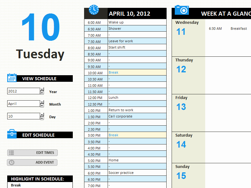 Daily Work Schedule Template Fresh Daily Work Schedule Templates Fice