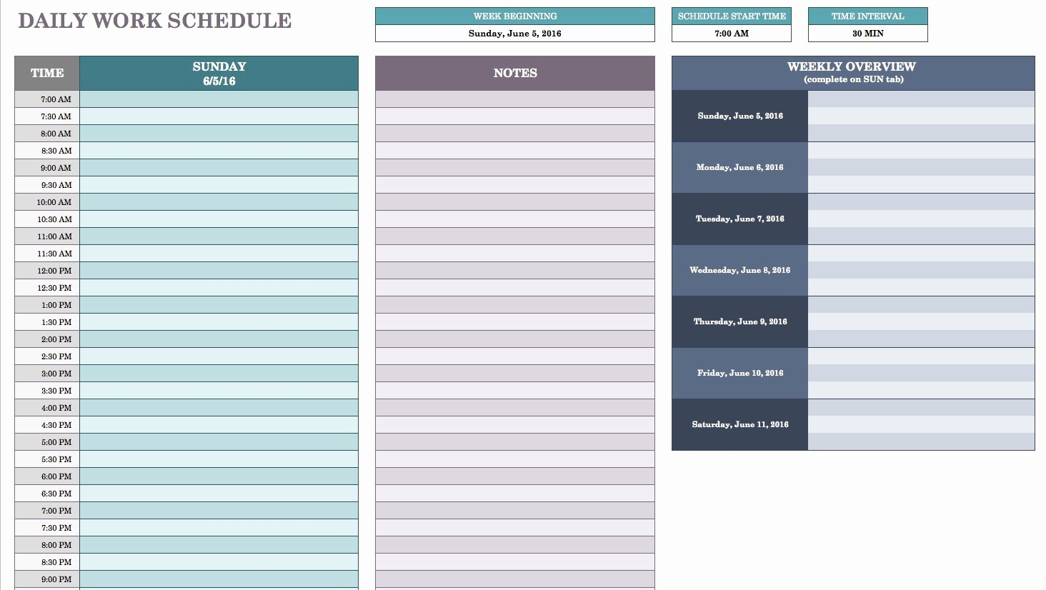 Daily Work Schedule Template Lovely Free Daily Schedule Templates for Excel Smartsheet