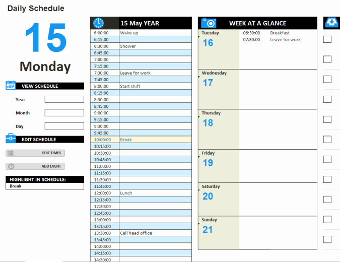 Daily Work Schedule Template New Daily Work Schedule