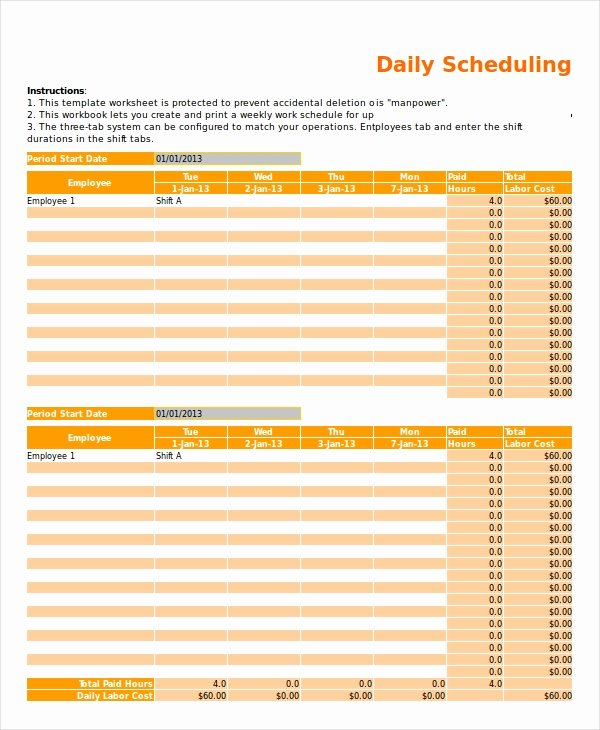 Daily Work Schedule Template New Excel Schedule Template 11 Free Pdf Word Download