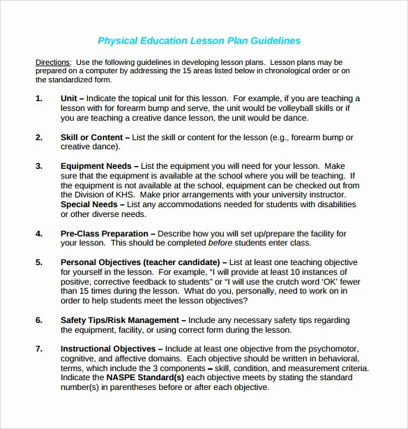 Dance Lesson Plan Template Best Of 15 Sample Physical Education Lesson Plans