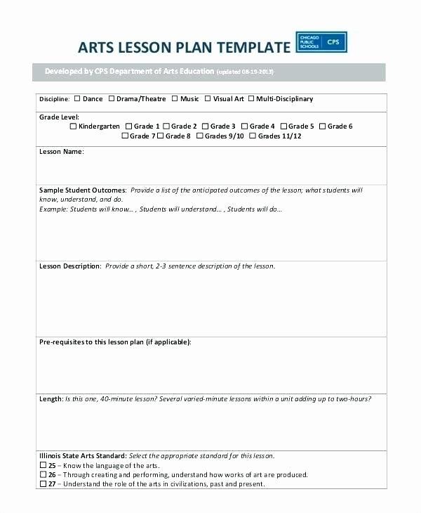Dance Lesson Plan Template Best Of Elementary Art Lesson Plan Template – the Smartteacher