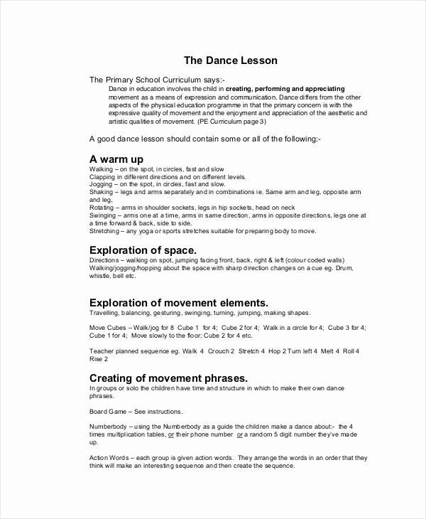 Dance Lesson Plan Template Elegant 59 Lesson Plan Templates Pdf Doc Excel