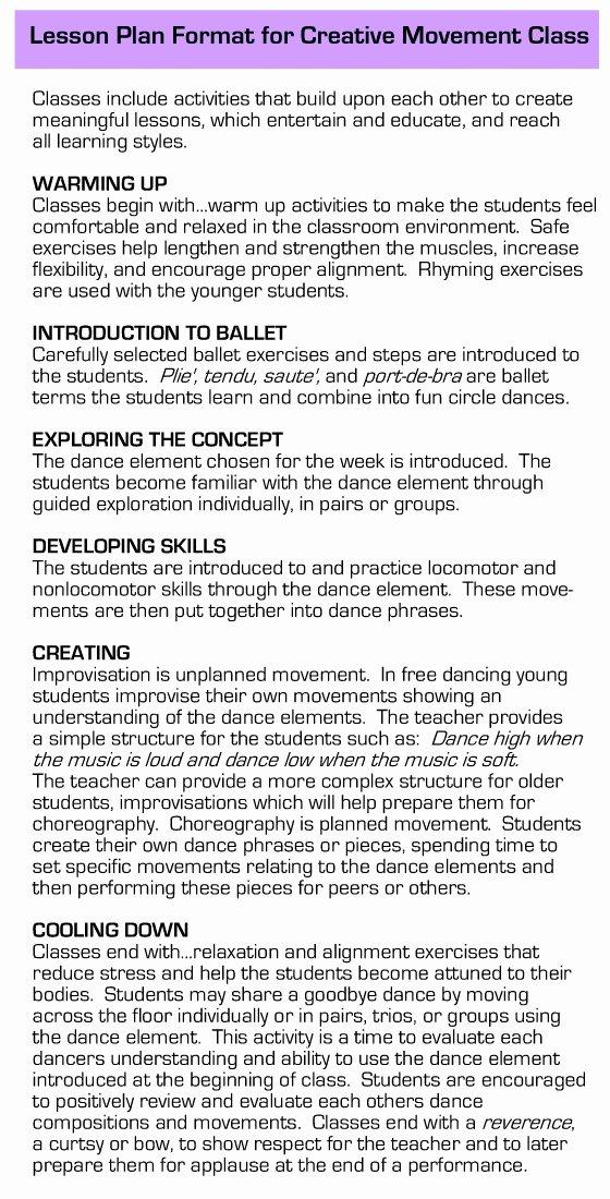 Dance Lesson Plan Template New Ballet Lesson Plan Template Alaska Creative Dance Lesson