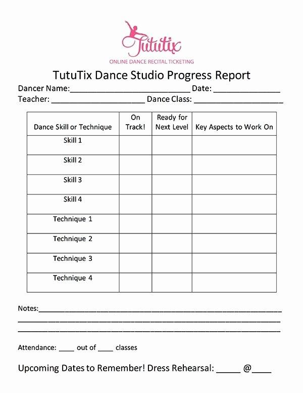 Dance Lesson Plan Template New the Dance Progress Report How to Progress