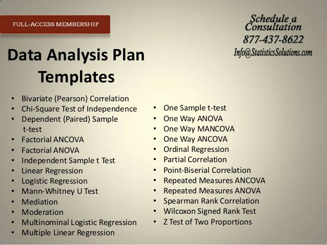 Data Analysis Plan Template New tools to Expedite Your Proposal Irb and Results Chapter