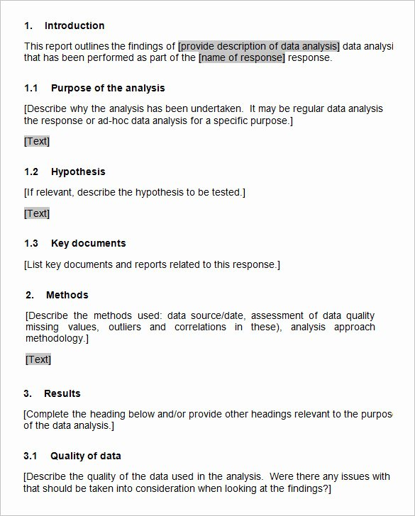 Data Analysis Report Template Lovely Data Analysis Report Templates – 5 Free Pdf Word