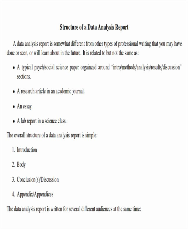 Data Analysis Report Template New 41 Report format Samples