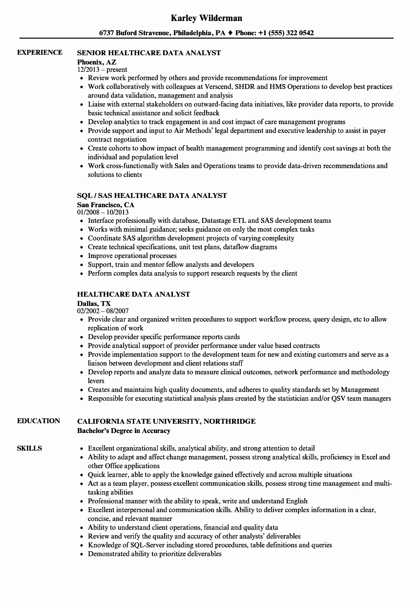 Data Analyst Resume Template Awesome Healthcare Data Analyst Resume Samples