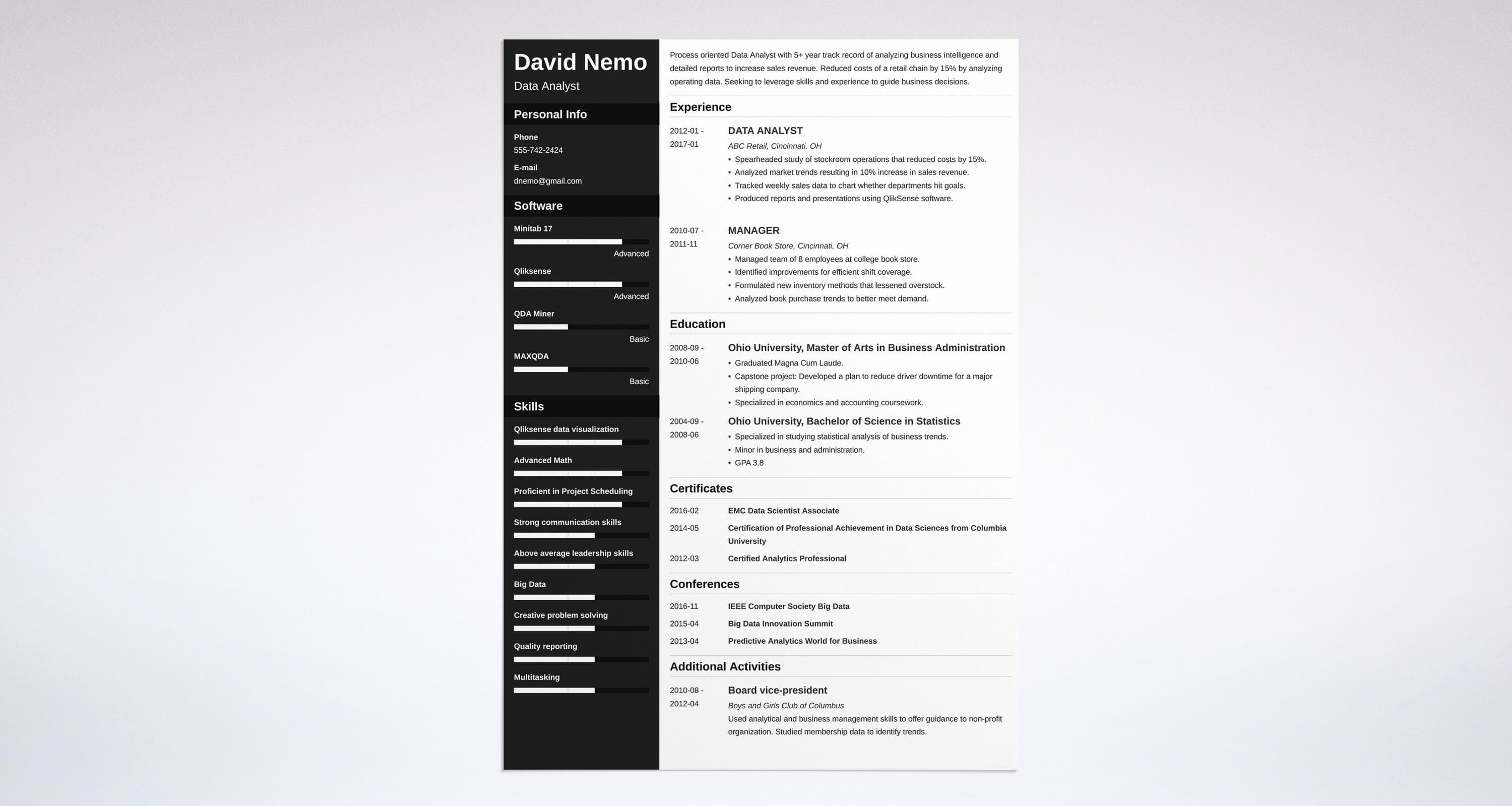 Data Analyst Resume Template Beautiful Data Analyst Resume Sample & Plete Guide [ 20 Examples]