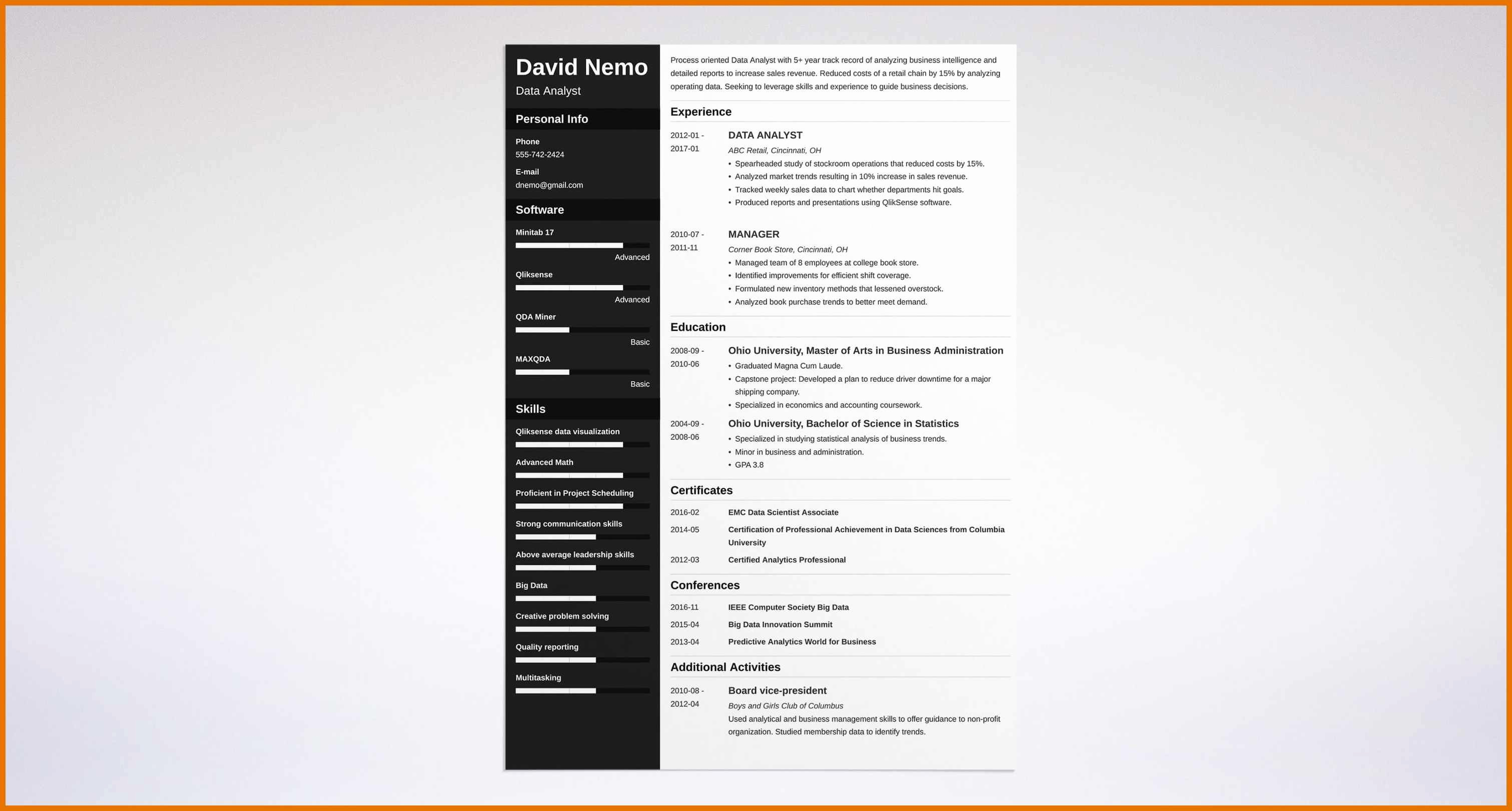 Data Analyst Resume Template Fresh 4 5 Data Analyst Cv