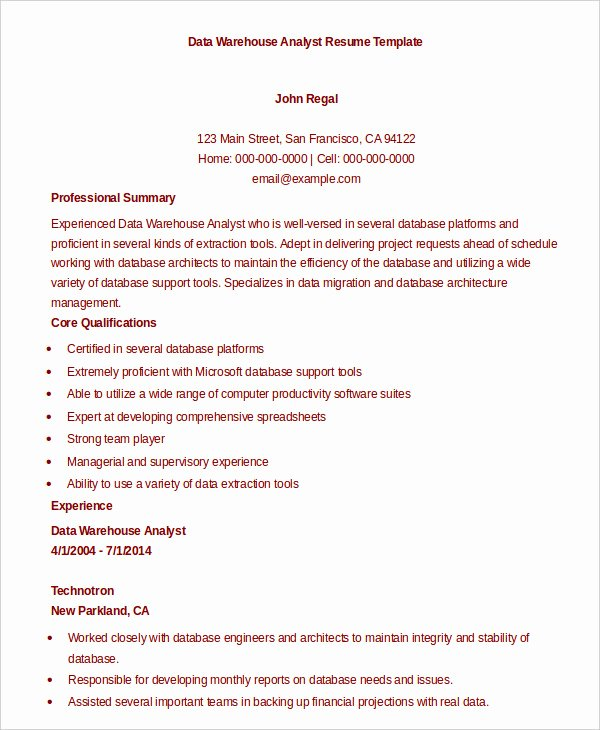 Data Analyst Resume Template Fresh 9 Data Analyst Resume Examples Pdf Doc