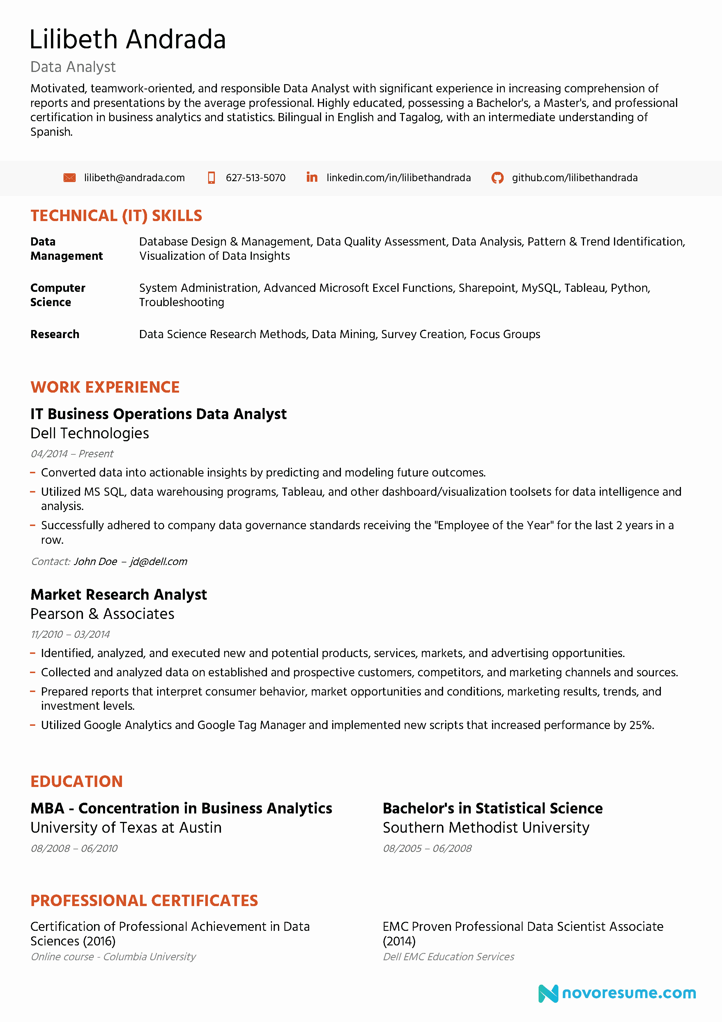 Data Analyst Resume Template Fresh Data Analyst Resume [2019] Guide & Examples