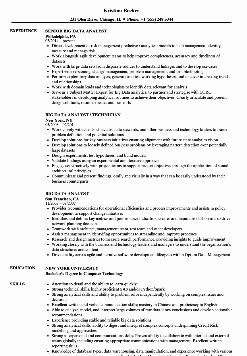 Data Analyst Resume Template Lovely Big Data Analyst Resume Samples