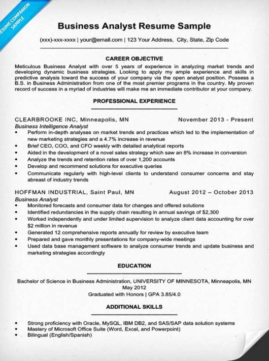 Data Analyst Resume Template Luxury Business Analyst Resume Sample & Writing Tips