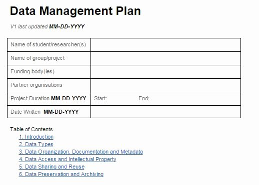 Data Management Plan Template Beautiful Introduction to Data Management Research Data Management