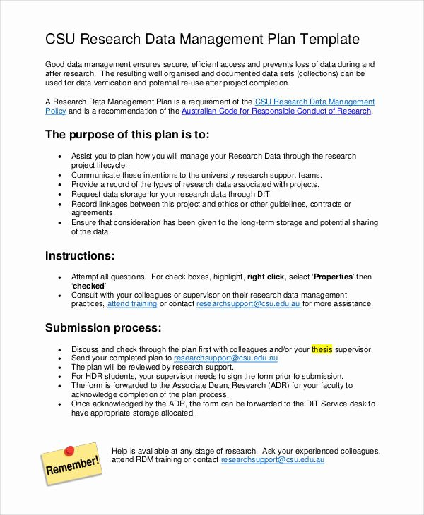 Data Management Plan Template New 7 Data Management Plan Templates Free Sample Example
