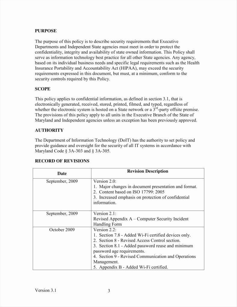 Data Security Policy Template Lovely 9 It Policy Templates Free Pdf Doc format Download