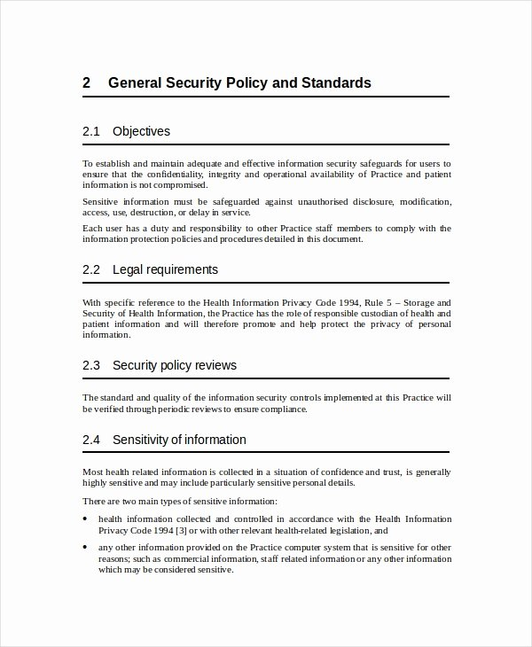 Data Security Policy Template Lovely Security Policy Template 7 Free Word Pdf Document