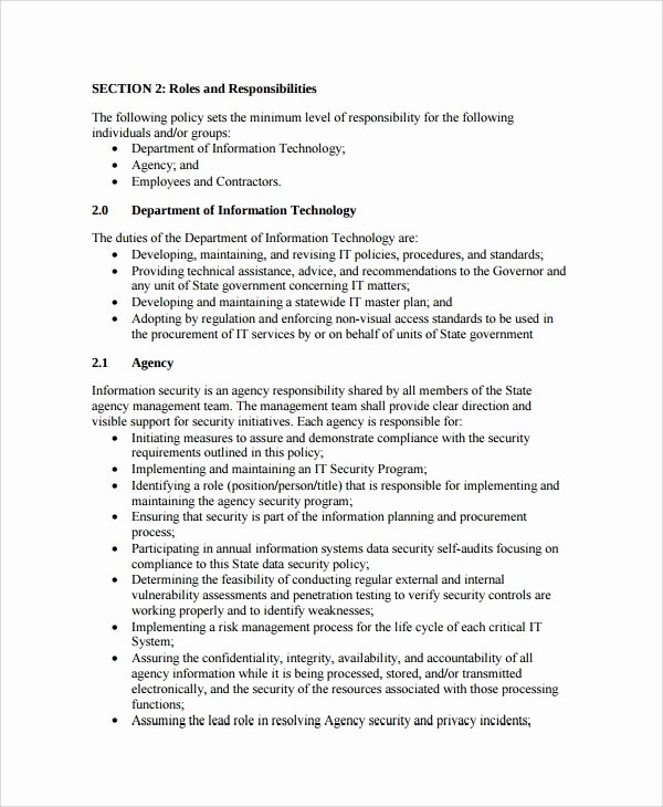 Data Security Policy Template New 10 It Security Policy Templates