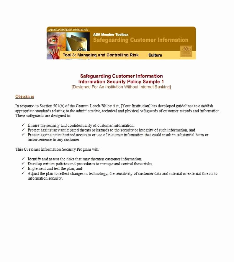 Data Security Policy Template New 42 Information Security Policy Templates [cyber Security