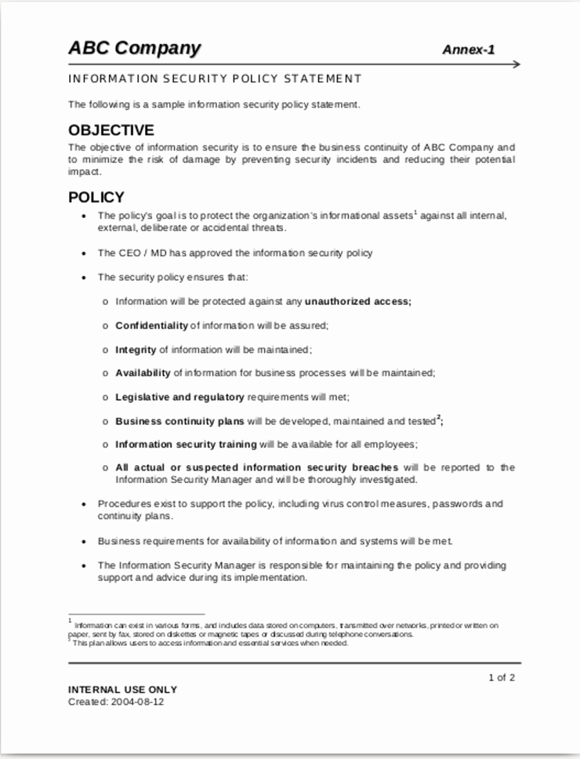 Data Security Policy Template New Sample Security Policy Statement