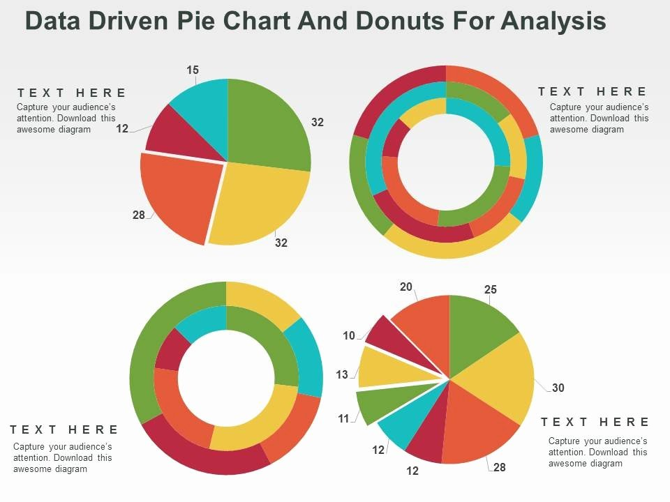 Database Driven Website Template New Data Driven Pie Chart and Donuts for Analysis Powerpoint