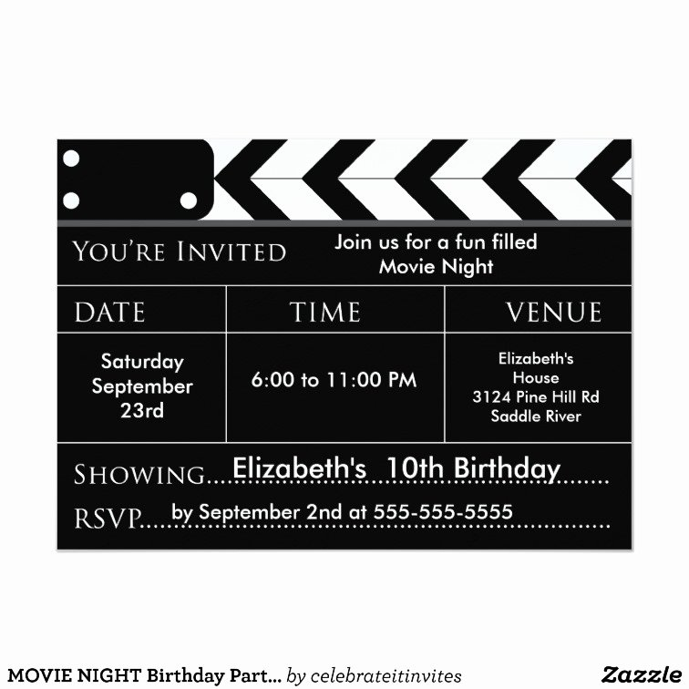 Date Night Invitation Template Inspirational Movie Night Birthday Party Invitation