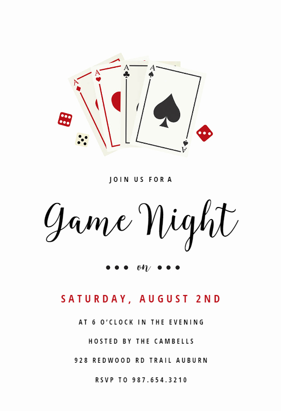 Date Night Invitation Template Inspirational Poker Game Night Free Sports & Games Invitation Template