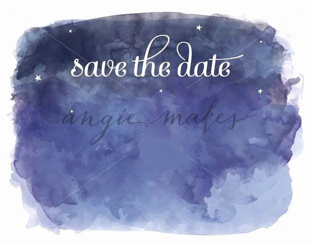 Date Night Invitation Template Lovely Night Sky Save the Date Template with Watercolor Blue