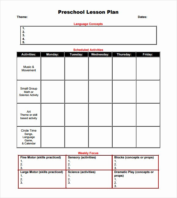 Daycare Lesson Plan Template Awesome 10 Sample Preschool Lesson Plans