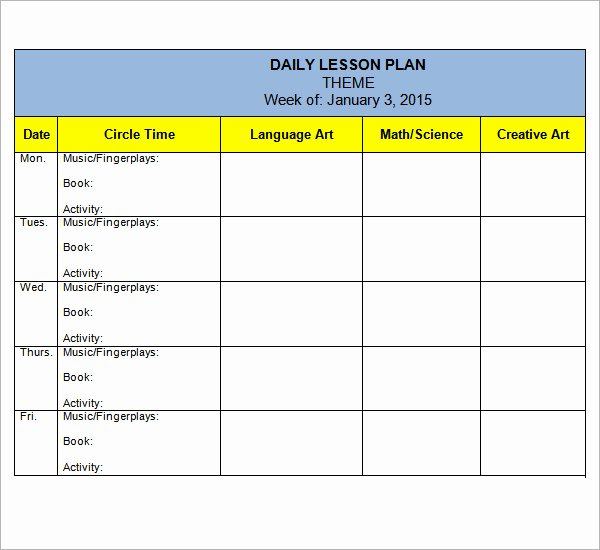 Daycare Lesson Plan Template Fresh 10 Sample Preschool Lesson Plan Templates