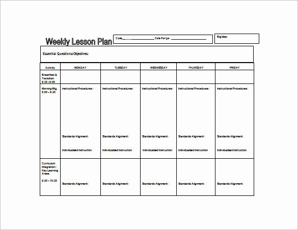 Daycare Lesson Plan Template Fresh Weekly Lesson Plan Template 8 Free Word Excel Pdf