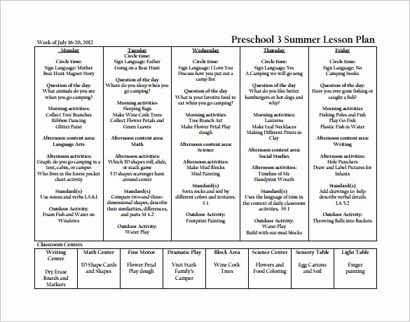 Daycare Lesson Plan Template New Preschool Lesson Plan Template