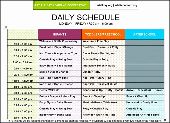 Daycare Staff Schedule Template Elegant Of Preschool Daily Routines