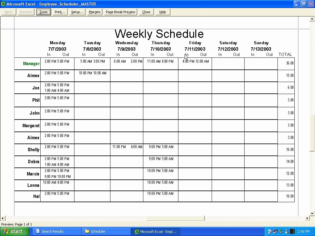 Daycare Staff Schedule Template Elegant Staff Schedule Template for Daycare