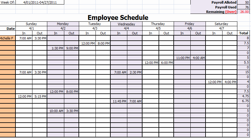 Daycare Staff Schedule Template Inspirational Staffing Schedule Template