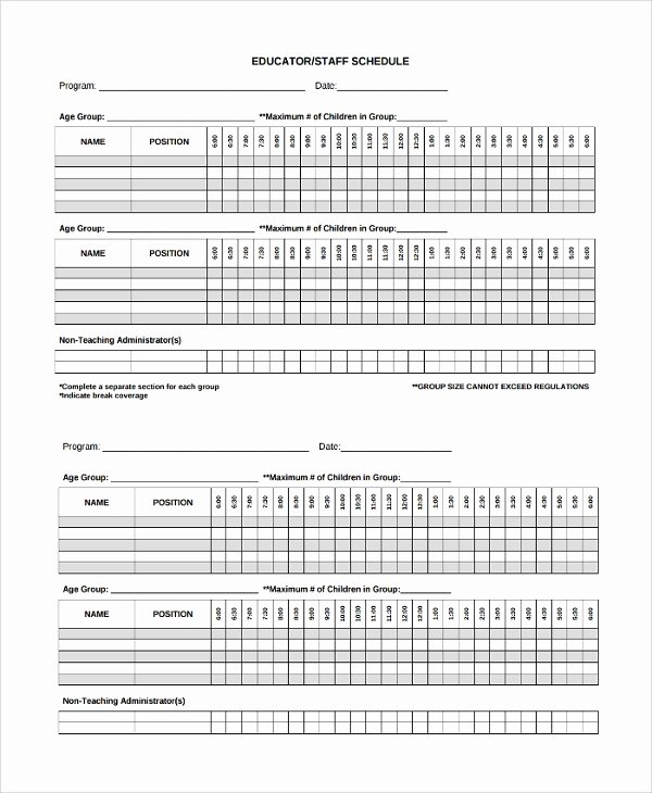 Daycare Staff Schedule Template Unique 8 Staff Schedule Templates