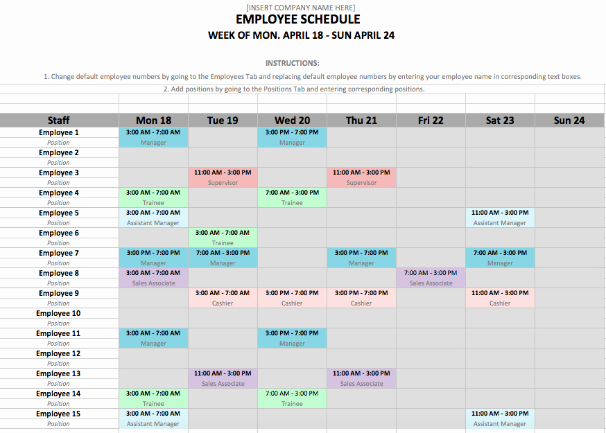 Daycare Staff Schedule Template Unique Employee Schedule Template In Excel and Word format