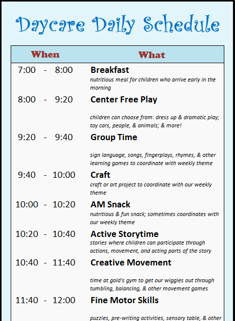Daycare Staff Schedule Template Unique Learning Zone Daycare Schedule