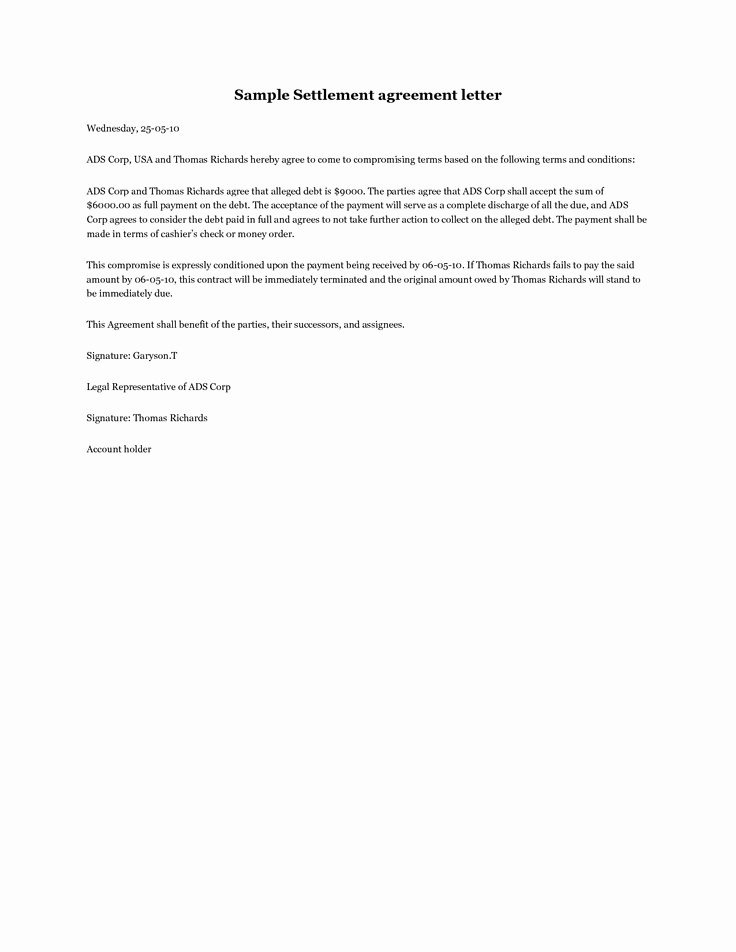 Debt Settlement Agreement Template Awesome Debt Settlement Agreement Letter