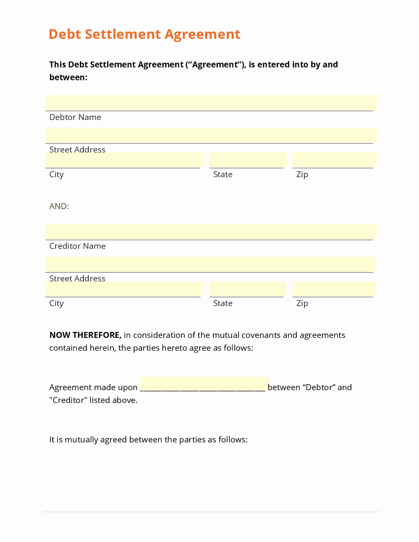 Debt Settlement Agreement Template Beautiful Payment Agreement form Template Baskanai