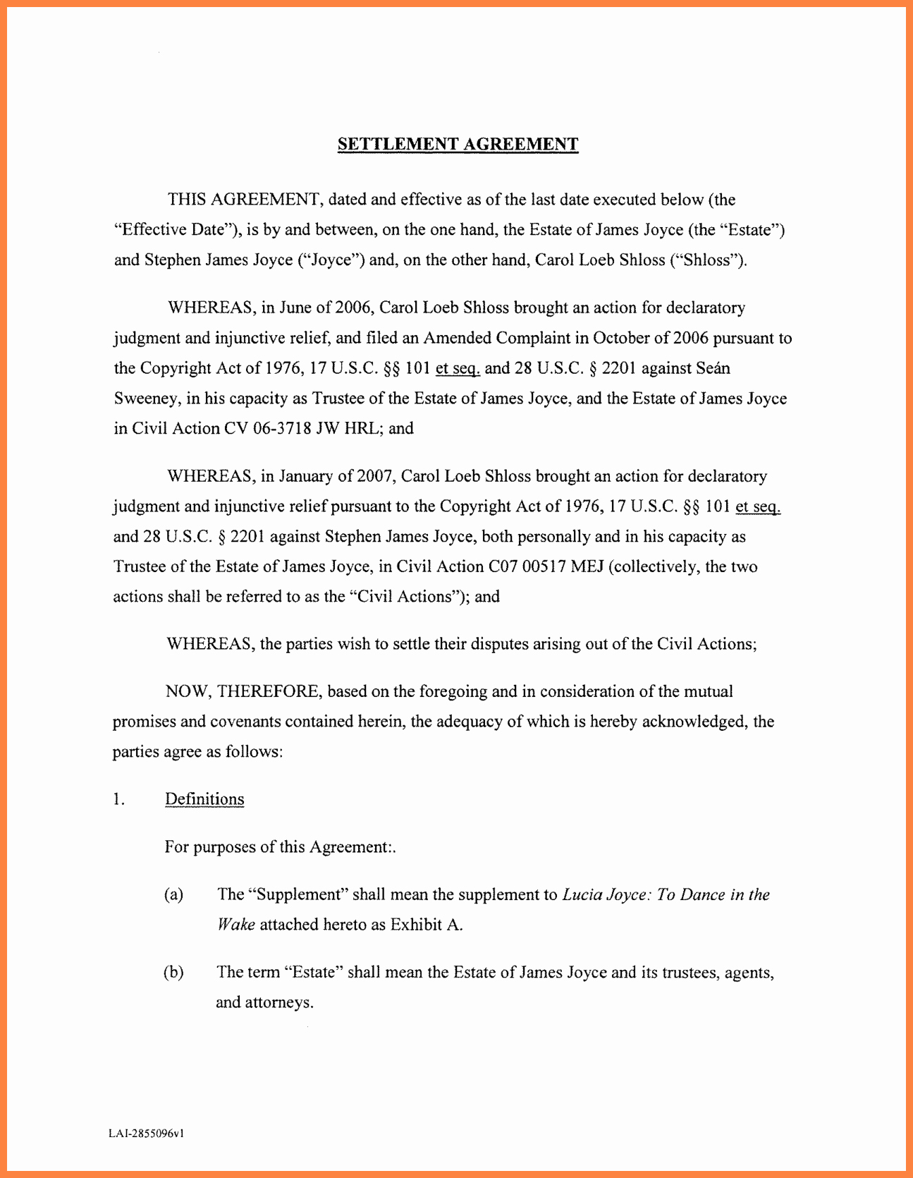 Debt Settlement Agreement Template Fresh 10 Settlement Agreement